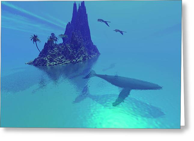 Sea Creature Pictures Greeting Cards - Mystery Island Greeting Card by Corey Ford