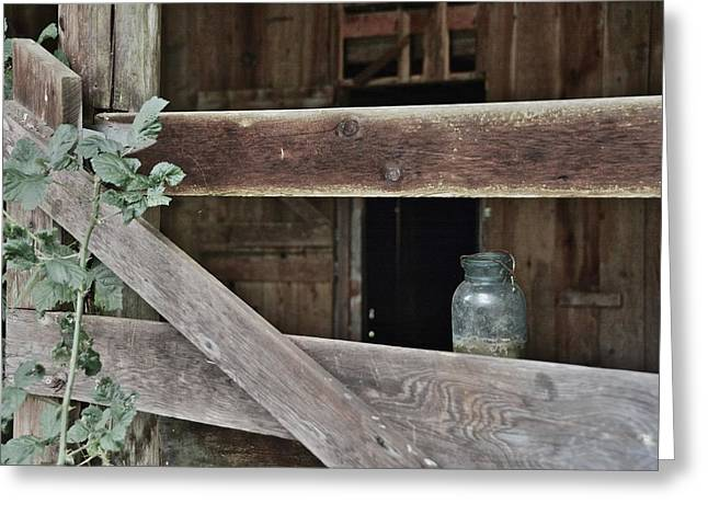 Barn In Woods Photographs Greeting Cards - Mystery Jar Greeting Card by Rachel Cash