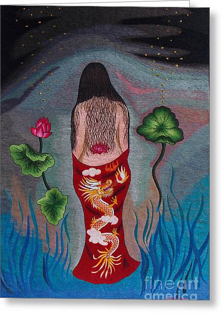 Nude Tapestries - Textiles Greeting Cards - Mystery Lady hand embroidery Greeting Card by To-Tam Gerwe