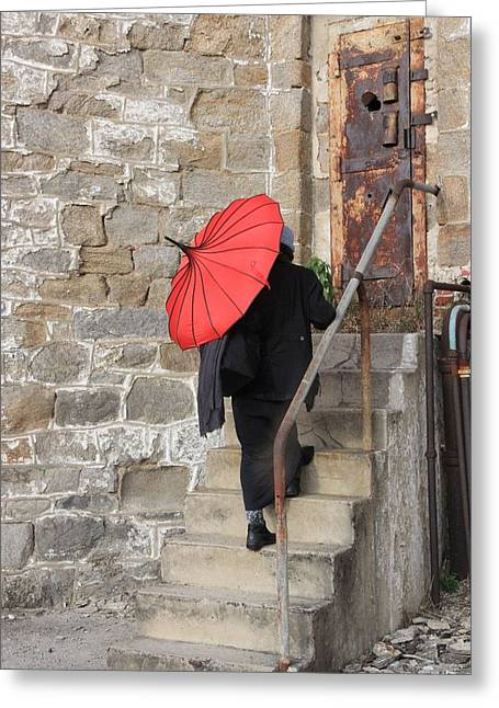 Lady With Red Umbrella Greeting Cards - Mystery lady Greeting Card by Mark Murphy