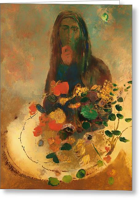 Pondering Paintings Greeting Cards - Mystery Greeting Card by Odilon Redon