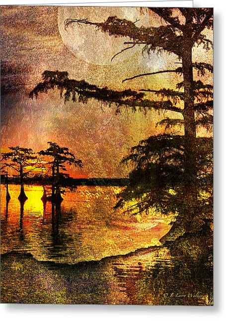 Sunrise Digital Art Greeting Cards - Mystery Sunrise With Moon Greeting Card by J Larry Walker