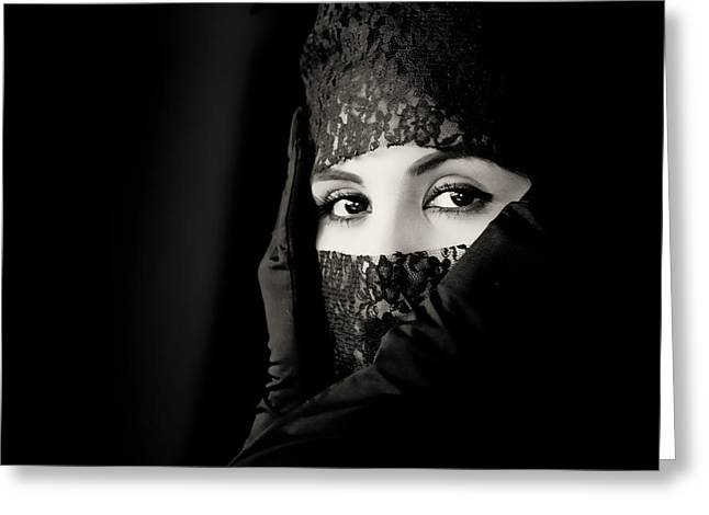 Eyelash Greeting Cards - Mystery that is woman Greeting Card by Hugh Smith