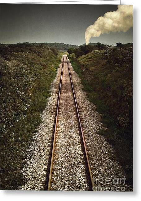Smokestack Greeting Cards - Mystery Train Greeting Card by Carlos Caetano