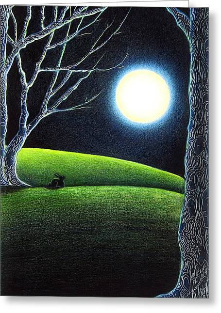 Moonlit Night Drawings Greeting Cards - Mysterys Silence and Wonders Patience Greeting Card by Danielle R T Haney