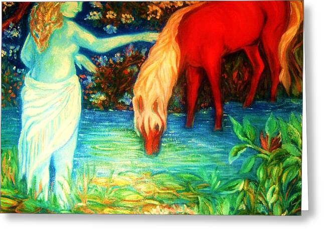 Gay Art Framed Giclee On Canvas Greeting Cards - Mystic and the Red Pony Greeting Card by Gunter  Hortz