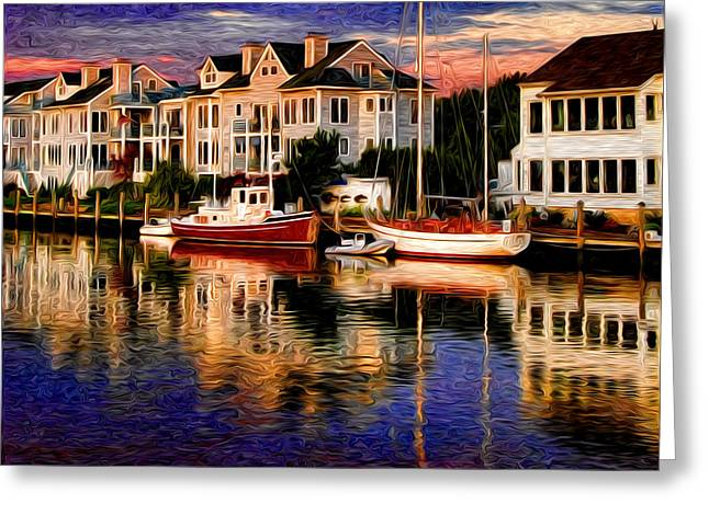 New England Ocean Digital Art Greeting Cards - Mystic CT Greeting Card by Sabine Jacobs