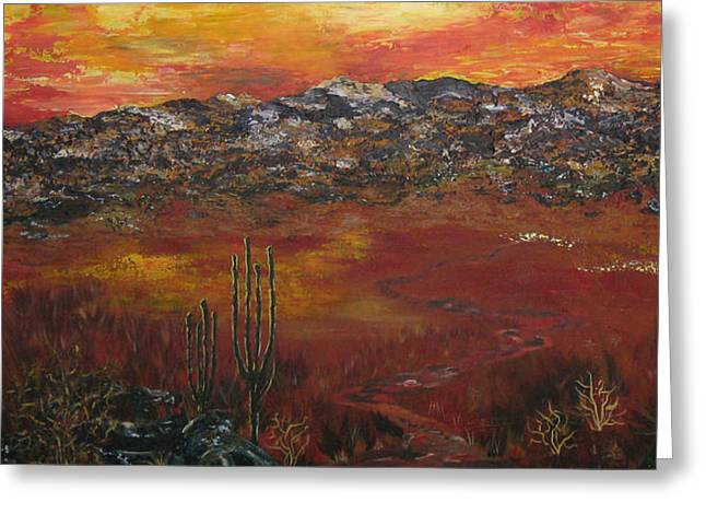 Mystic Setting Greeting Cards - Mystic Desert Greeting Card by Linda Eversole