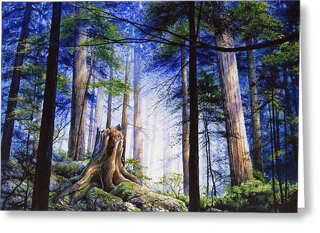 Canadian Wilderness Greeting Cards - Mystic Forest Majesty Greeting Card by Hanne Lore Koehler