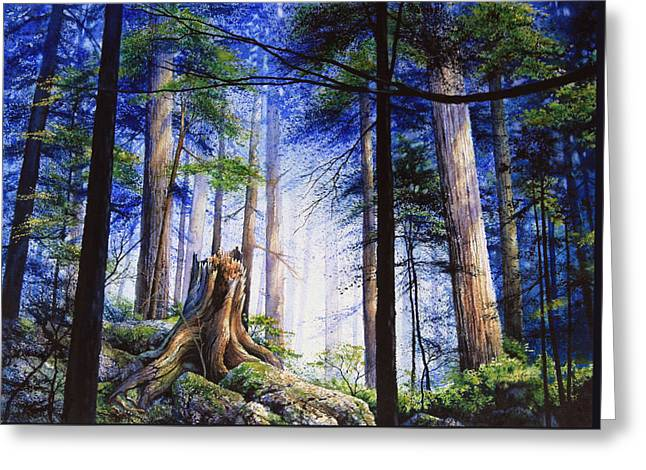 Park Scene Paintings Greeting Cards - Mystic Forest Majesty Greeting Card by Hanne Lore Koehler
