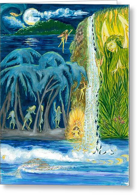 Tropical Rainforests Mixed Media Greeting Cards - Mystic Full Moon Waterfall Greeting Card by Marsha Walker