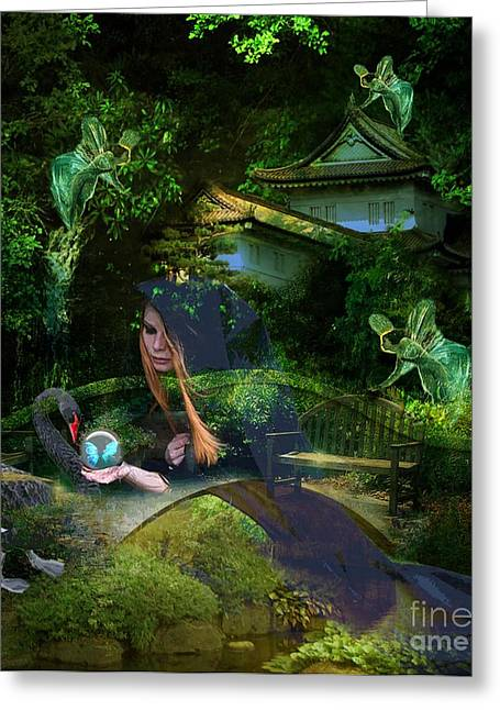 Angels Breath Greeting Cards - Mystic Garden Greeting Card by Tammera Malicki-Wong