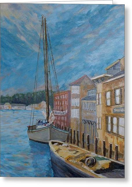 Sailboats In Harbor Greeting Cards - Mystic Harbor Greeting Card by Anthony D