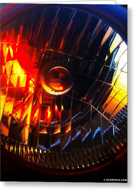 Blue Subaru Greeting Cards - Mystic Headlight Greeting Card by Anthony Scarpace