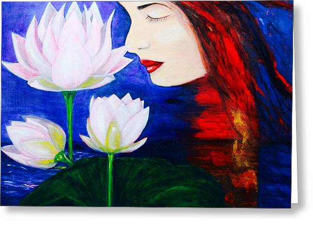 Mystic Art Greeting Cards - Mystic Lily Lady Greeting Card by ElsaDe Paintings