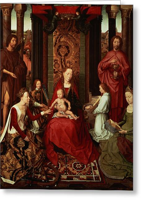 John The Baptist Greeting Cards - Mystic Marriage Of St. Catherine And Other Saints Greeting Card by Hans Memling