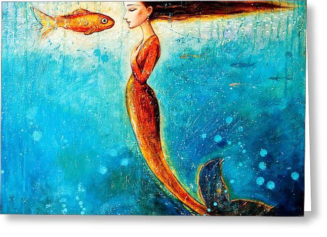 Sea Scape Greeting Cards - Mystic Mermaid II Greeting Card by Shijun Munns