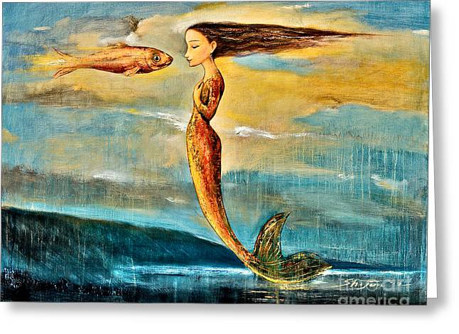 Mystic Sky Art Greeting Cards - Mystic Mermaid III Greeting Card by Shijun Munns