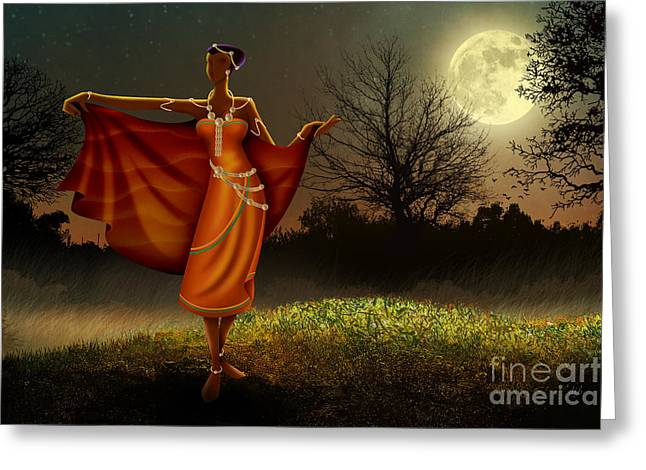 Mystic Art Greeting Cards - Mystic Moonlight V2 Greeting Card by Bedros Awak