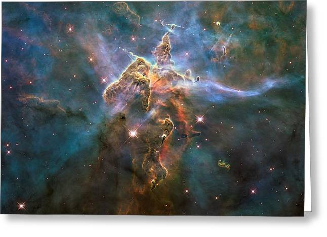 Hubble Space Telescope Mixed Media Greeting Cards - Mystic Mountain Greeting Card by L Brown