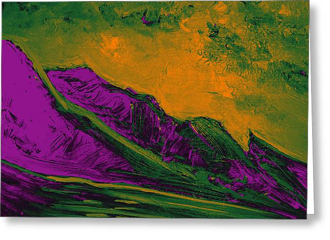 Storm Prints Digital Greeting Cards - Mystic Mountains in Purple Greeting Card by Maria Gabriela Brazley