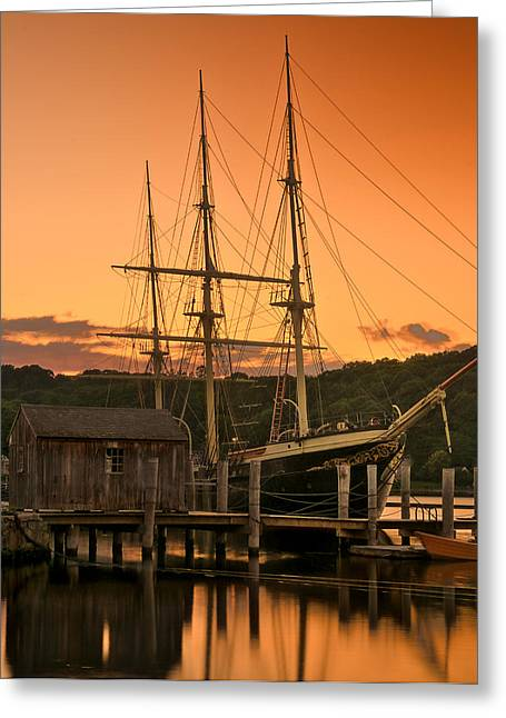 Historic Schooner Greeting Cards - Mystic Seaport Sunset-Joseph Conrad tallship 1882 Greeting Card by Thomas Schoeller