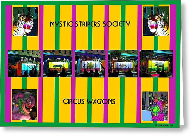 Circus Graphics Greeting Cards - Mystic Stripers Society Circus Wagons Greeting Card by Marian Bell