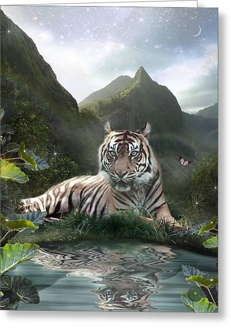 Mystic Tigress Greeting Card by Alixandra Mullins