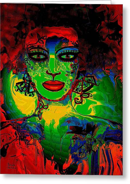Green Forehead Greeting Cards - Mystic Woman Greeting Card by Natalie Holland