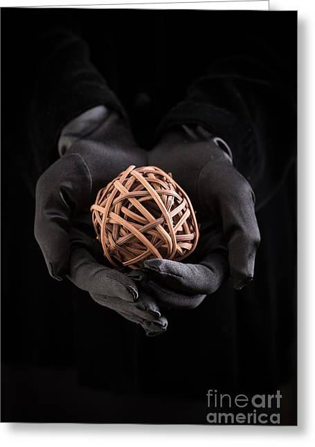 Glove Greeting Cards - Mystical hands holding a woven ball Greeting Card by Edward Fielding