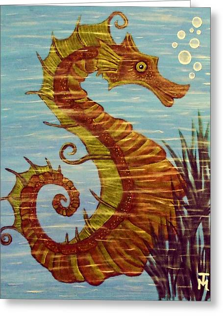 Sea Horse Greeting Cards - Mystical Horse of the Sea the Seahorse Greeting Card by Tisha McGee