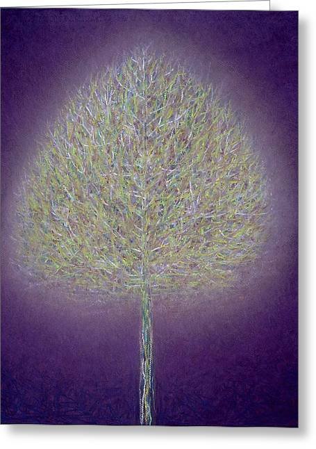Phoenix Suns Greeting Cards - Mystical Tree, 1996 Mixed Media Greeting Card by Peter Davidson