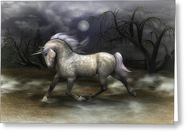Surreal Fantasy Horse Fine Art Greeting Cards - Mystical Unicorn Greeting Card by Todd and candice Dailey