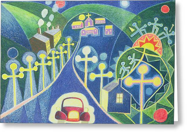 Night Lamp Greeting Cards - Mystical Village, 1985 Oil Pastel On Paper Greeting Card by Peter Davidson