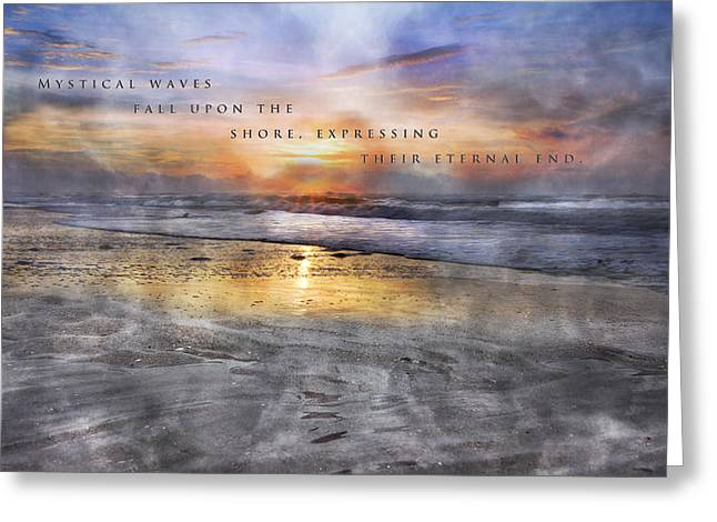 Foggy Beach Greeting Cards - Mystical Waves Greeting Card by Betsy A  Cutler