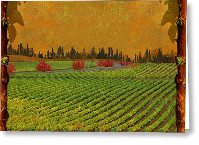Grape Vineyard Greeting Cards - Mythical Vineyard Greeting Card by Jeff Burgess
