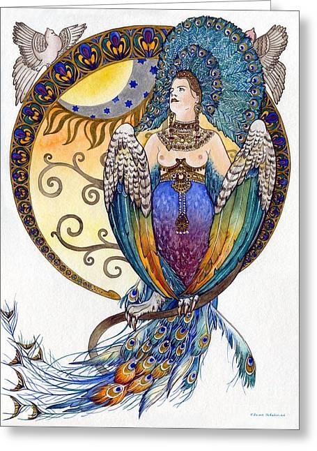 Belle Epoch Greeting Cards - Mythological Bird-Woman Gamayun - Elena Yakubovich Greeting Card by Elena Yakubovich