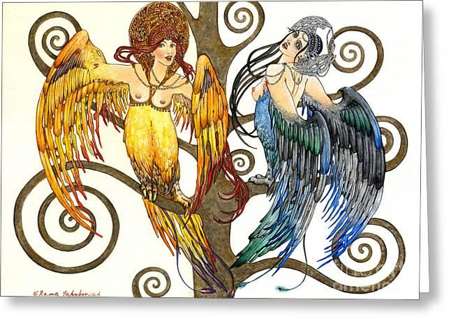 Belle Epoch Greeting Cards - Mythological Birds-Women Alconost and Sirin- Elena Yakubovich  Greeting Card by Elena Yakubovich