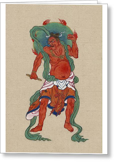 Religious Icon Greeting Cards - Mythological Buddhist or Hindu figure Circa 1878 Greeting Card by Aged Pixel
