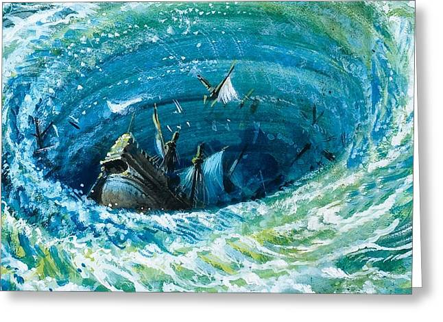 Sailing Ship Greeting Cards - Myths And Legends Greeting Card by Andrew Howat