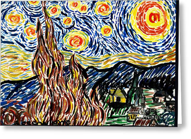 Kirk Paintings Greeting Cards - Vincent van Goghs Starry Night Greeting Card by Genevieve Esson