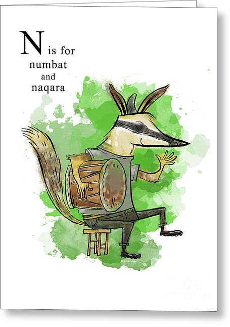 Animal Alphabet Greeting Cards - N is for Numbat Greeting Card by Sean Hagan