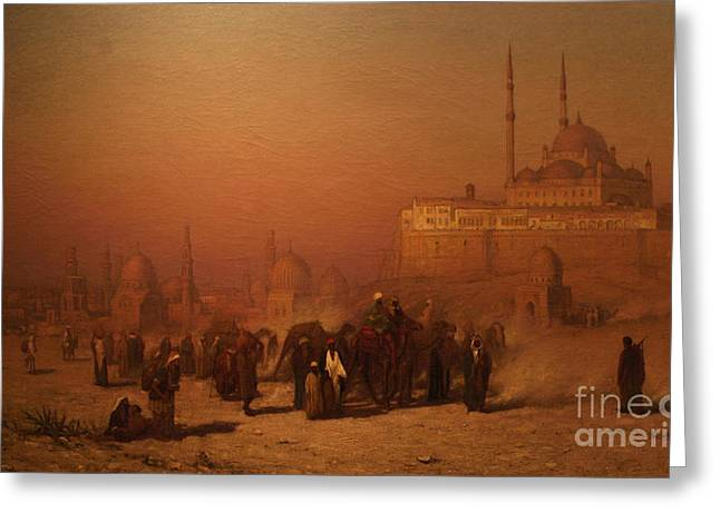 Sahara Sunlight Greeting Cards - N The Way Between Old And New Cairo Citadel Mosque Greeting Card by Celestial Images