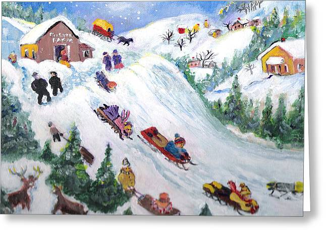 Country Schools Mixed Media Greeting Cards - N0 School-Lets Go Sledding Greeting Card by Barbara LeMaster