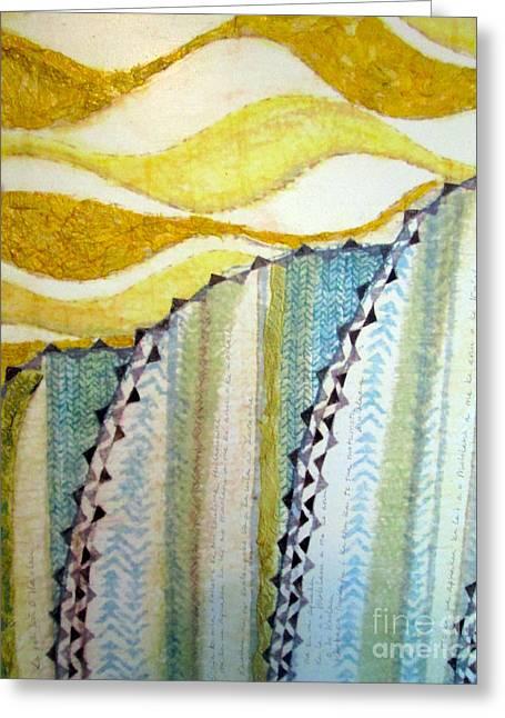 Contemporary Abstract Tapestries - Textiles Greeting Cards - Na Koolau Greeting Card by Dalani Tanahy