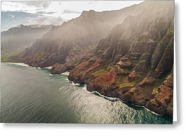 Best Sellers -  - Best Ocean Photography Greeting Cards - Na Pali Coast 4 - Kauai Hawaii Greeting Card by Brian Harig