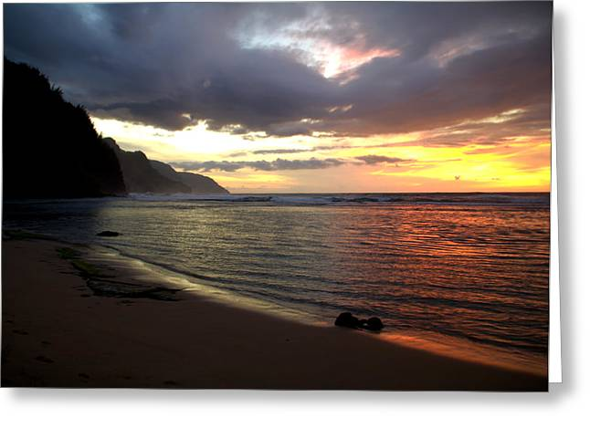Travel Photography Greeting Cards - Na Pali Coast Sunset Greeting Card by Brian Harig