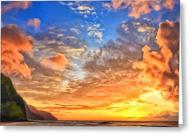 Lahaina Greeting Cards - Na Pali Coast Sunset Greeting Card by Dominic Piperata