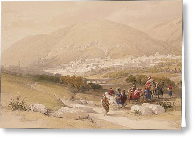 Landscape Drawings Greeting Cards - Nablous   Ancient Shechem Greeting Card by David Roberts
