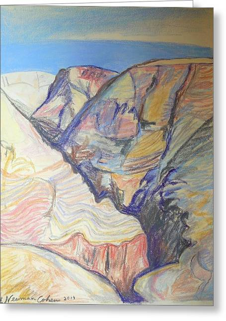 Pastel Mountains Metal Prints Greeting Cards - Nachal Darga Canyon Greeting Card by Esther Newman-Cohen